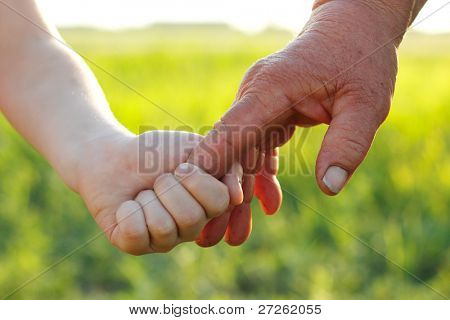 hands of young child and old senior overworked over nature wheat summer field