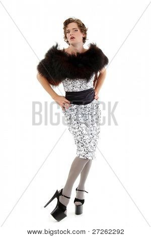 gay man attractive she-male makeup with dress and platform shoes full-length isolated on white background
