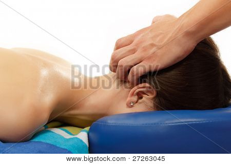 massage head woman isolated on white background
