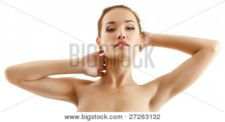 woman young beautiful cheerful enjoying isolated on white background