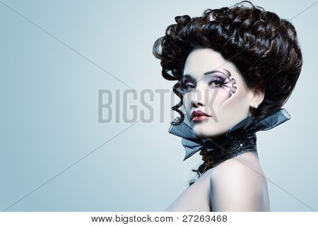 woman beautiful halloween vampire baroque aristocrat over blue background
