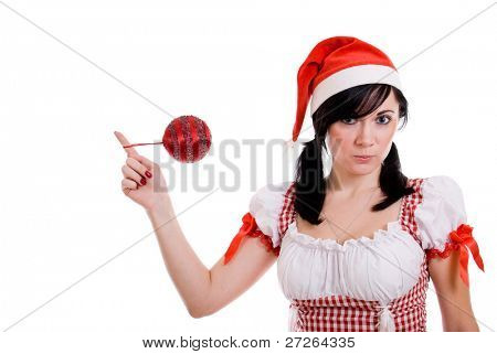 Beautiful happy Christmas woman on white background