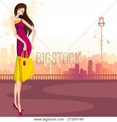 illustration of lady with shopping bag standing on street