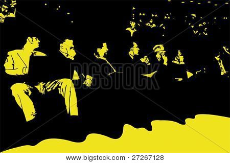 Vector illustration of businessmen work at the conference