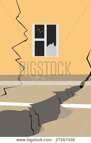 Vector illustration of street after an earthquake