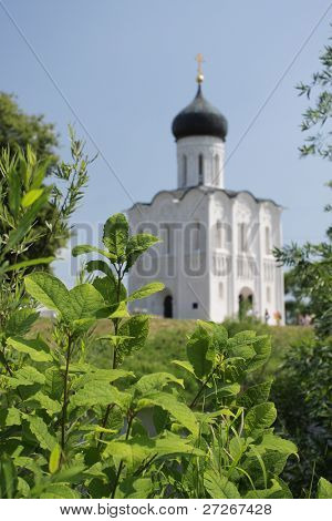 Church of the Intercession on River Nerl in the village Bogolubovo (Pokrova na Nerly) near Russian city Vladimir. Focus is under the leaves, church is blurred