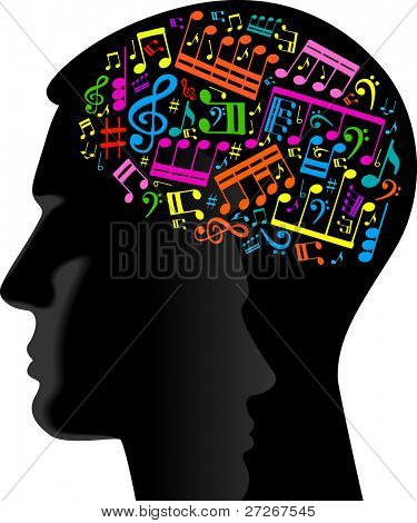 man wrote the music.head of the person with the notes