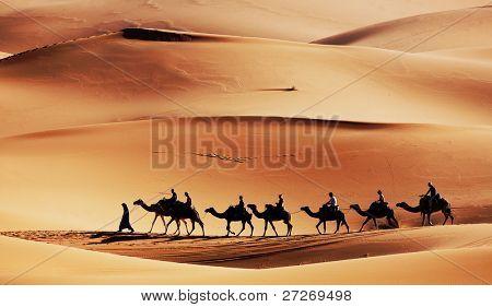 Caravan in Sahara Desert