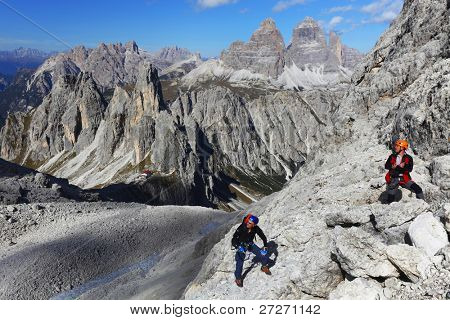 Alpinists in the Dolomites, Italy