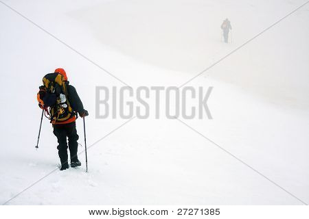 Winter mountain trekking
