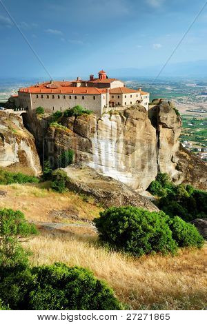 The Holy Monastery of St. Stephen, Meteora, was built in the 16th century and decorated in 1545 (It was damaged by the Nazis during WW II who believed it was harboring insurgents)