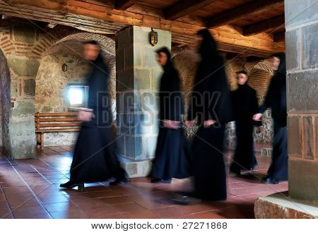 Nuns in the Monastery of the Holy Trinity, Meteora, Greece (built in 1475)