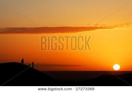 Sunrise watching in Sahara Desert, Africa