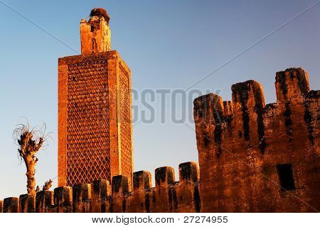 Architectural detail of a moroccan kasbah (sunset colors)