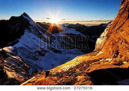 Sunset colors on Leone Ridge, Monte Cervino (4478m), Italy