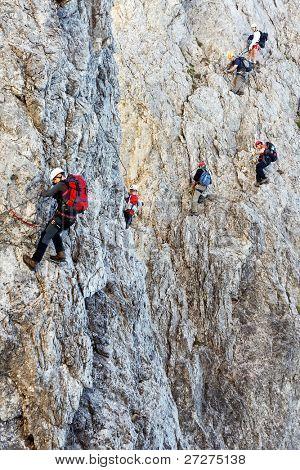 Climbing on Koenigsjodler Ridge, Austrian Alps, Europe