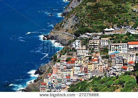 Aerial view of Riomaggiore Village, Cinque Terre, Italy