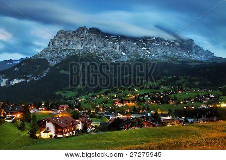 Grindelwald Village and Eiger Peak, Switzerland