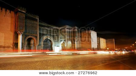 Abstract image of the traffic in front of Bab El Mansour, Meknes, Morocco, Africa