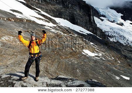 Alpinist under Eiger Peak, Switzerland