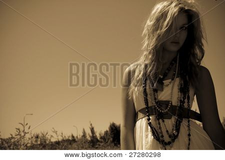 beautiful fashion model in sepia