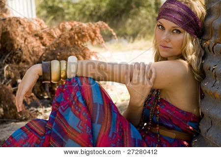 beautiful hippie girl in the country