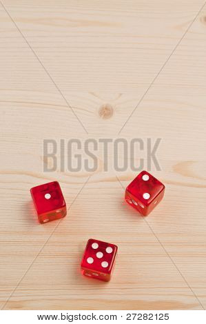 Gaming Dice On Light Wood