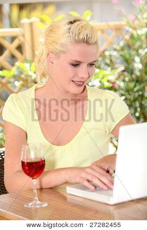 platinum blonde and laptop