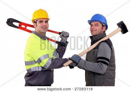 Workmen shaking hands