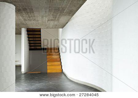 interior modern villa, passage, wooden staircase