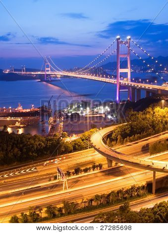 It is beautiful night scenes of Tsing Ma Bridge in Hong Kong.
