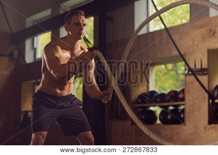 poster of Fit, Sporty And Athletic Sportsman Working In A Gym. Man Training Using Battle Ropes. Cross Fit, Spo