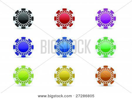 Casino chips icon set