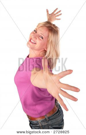 Middleaged Woman In Pink Shirt Stands Dancing 2
