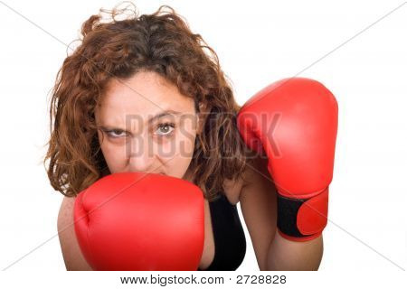 Boxing Woman Grimace