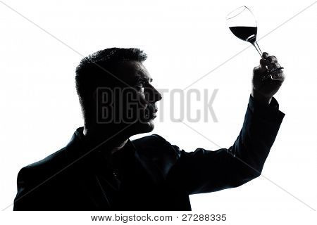 one caucasian man portrait silhouette tasting  looking at his glass of red wine in studio isolated white background