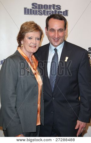 NEW YORK, NY - DECEMBER 6: Pat Summitt and Mike Kryzewski attend the 2011 Sports Illustrated Sportsman of the Year award presentation at The IAC Building on December 6, 2011 in New York City.