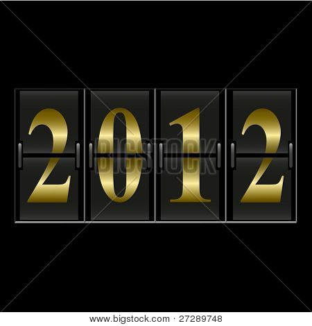 2012 New Year counter. Raster copy of vector illustration