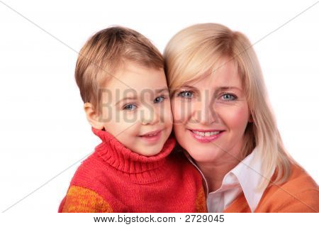 Middleaged Woman With Kid 2 Grandmother With Baby