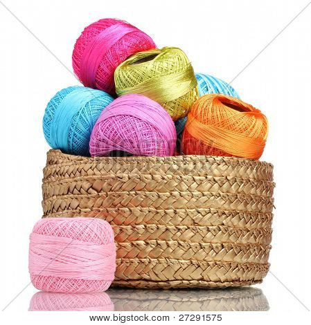 Bright threads for knitting in the basket isolated on white