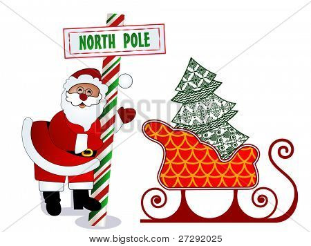 Santa with North Pole sign, tree and sleigh