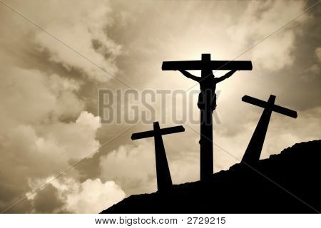 Silhouette Of Jesus Christ Crucified In Golgotha