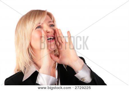 Middleaged Woman Screams