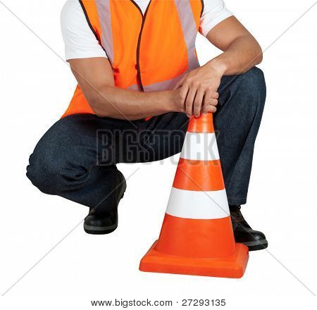 road worker closeup with orange posts isolated on a white