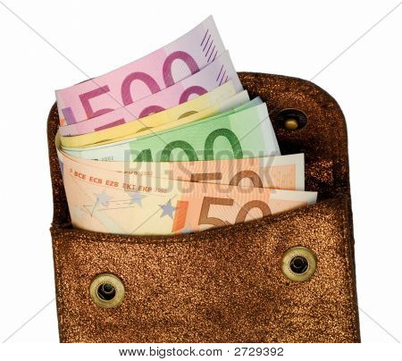 Golden Wallet With Euro Notes