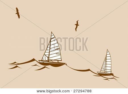sailfishes silhouette on yellow background, vector illustration