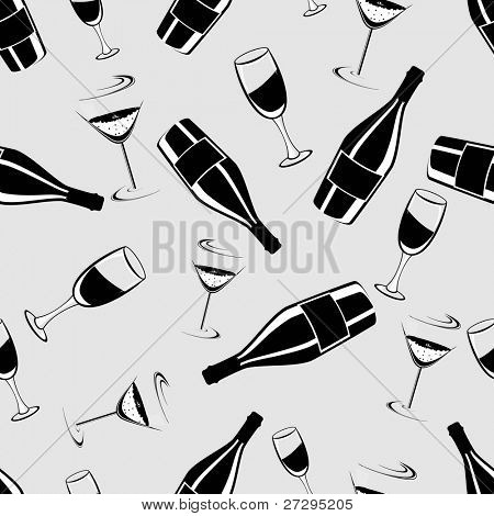 Seamless black and white pattern with  champagne bottle and glasses for Christmas and new year.