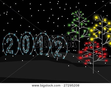 2012 shiny text & stylish Xmas trees greeting card on lighting  black background for New Year & Other Occasions.