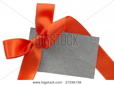 gray paper note with orange sateen bow