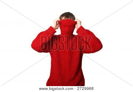 Man Is In A Red Sweater